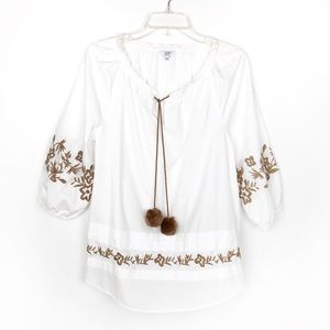 Crown & Ivy | White Peasant Blouse Embroidered NWT